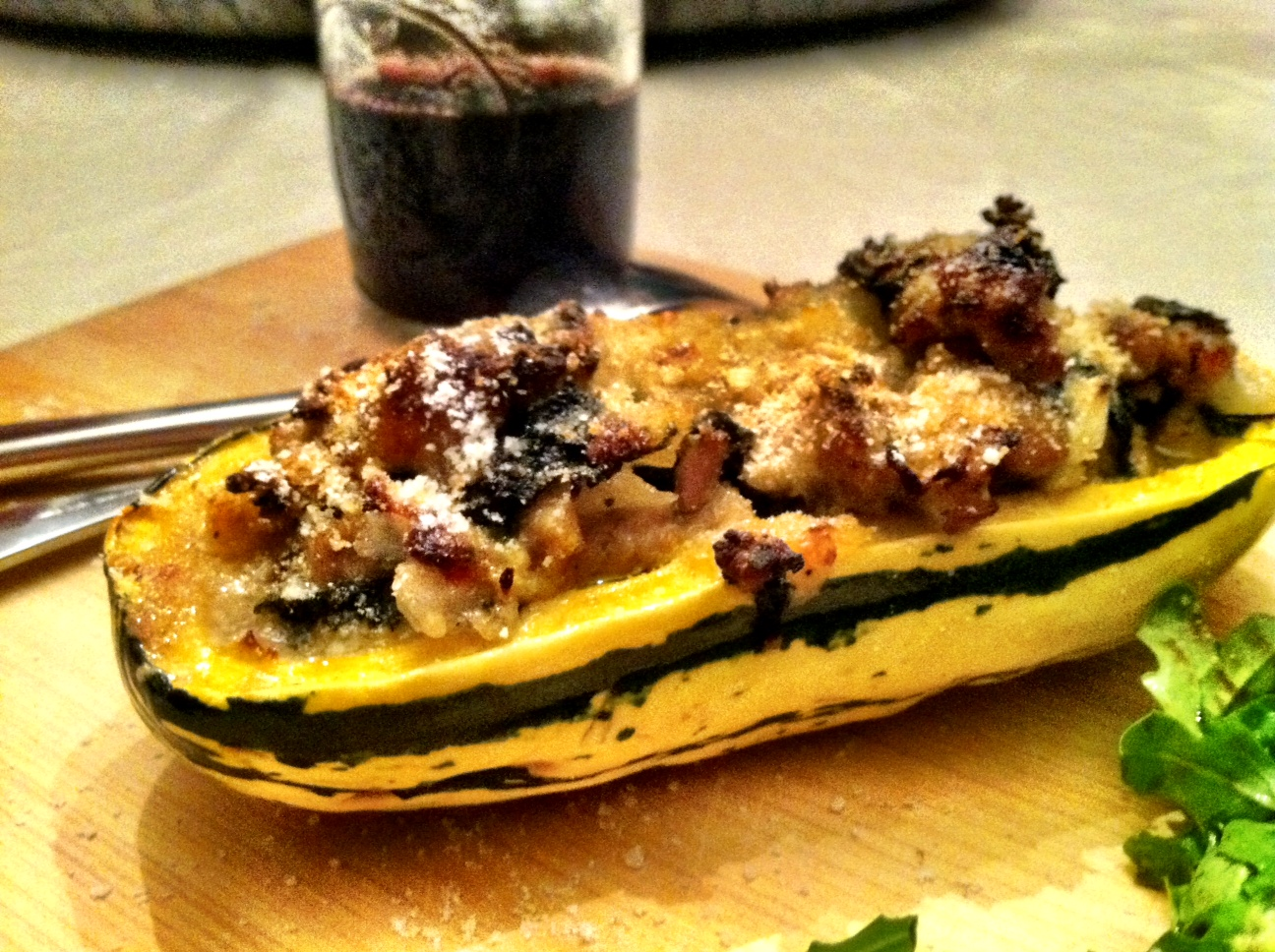 How about some kale and sausage stuffed delicata squash?