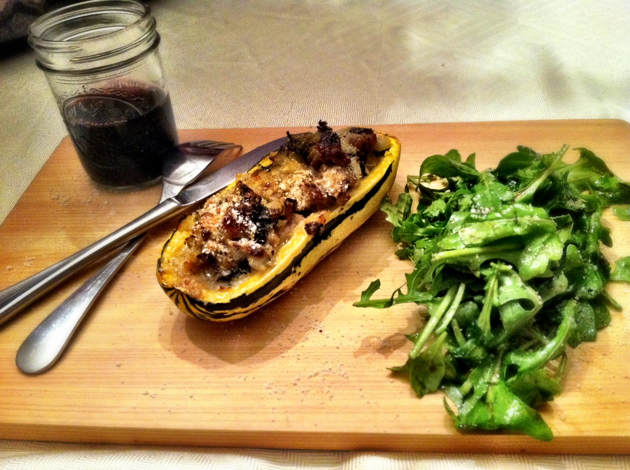 We served our squash with a simple arugula salad. The flavors screamed ...