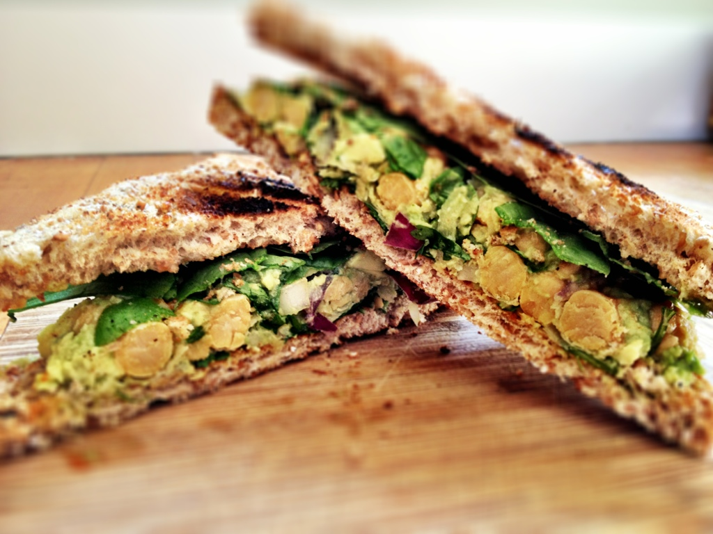 smashed avocado and chickpea sandwich - Dishing Up the Dirt