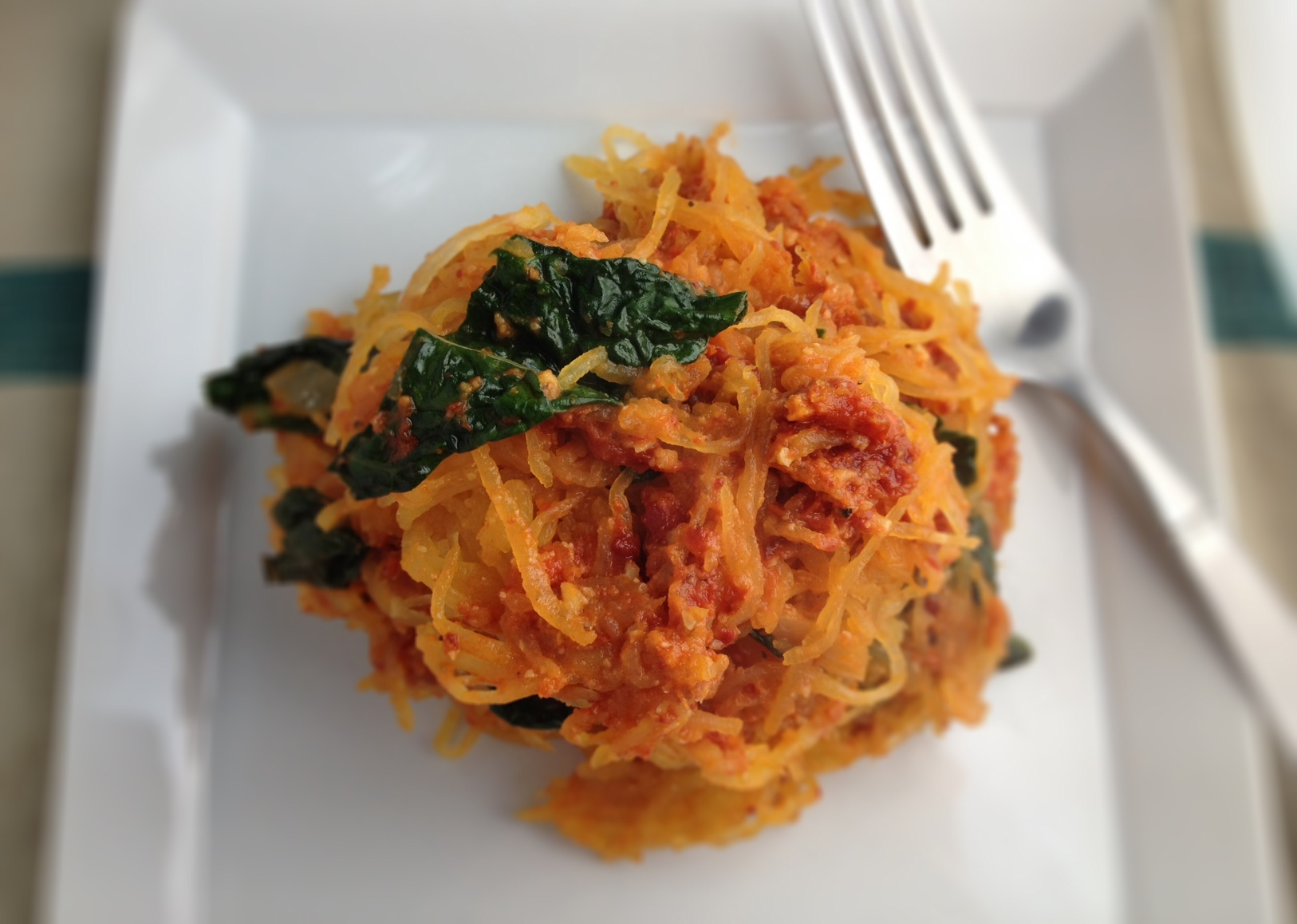 spaghetti squash with sun dried tomato pesto - Dishing Up the Dirt