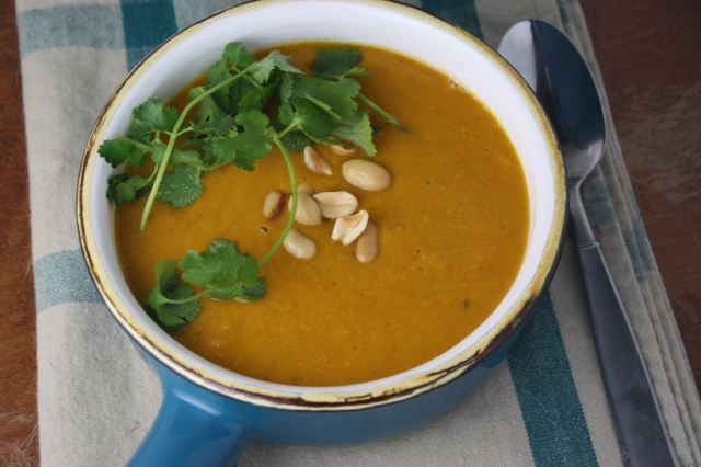 curried sweet potato and peanut soup - Dishing Up the Dirt