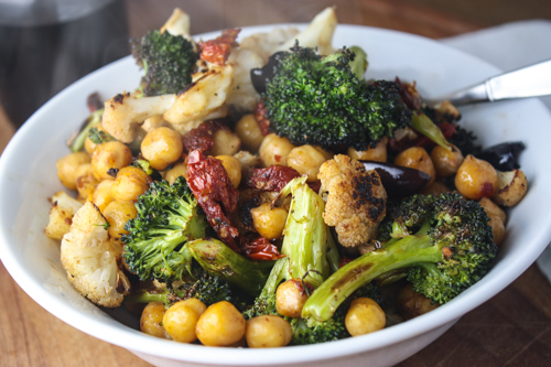 roasted cauliflower, broccoli, & sun dried tomato salad with chickpeas ...